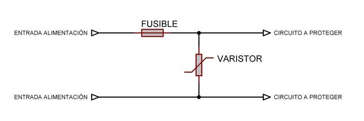 Conexión típica de un varistor