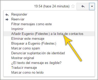 Añadir remitente a la lista de contactos