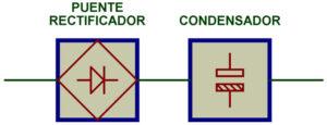 Secciones: puente rectificador y condensador