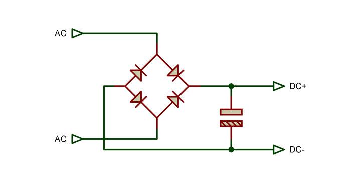 Circuito Rectificador : Circuito rectificador con capacitor