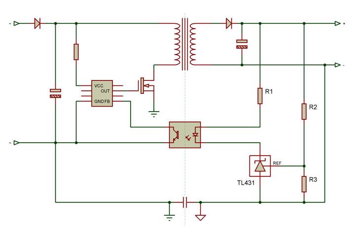 Fig. 3 - Conexión de los componentes de regulación de tensión