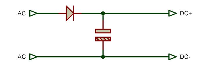 Fig. 1 - Rectificador y filtro de salida