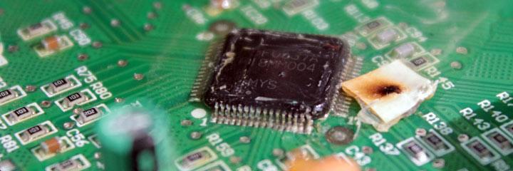 Microcontrolador quemado