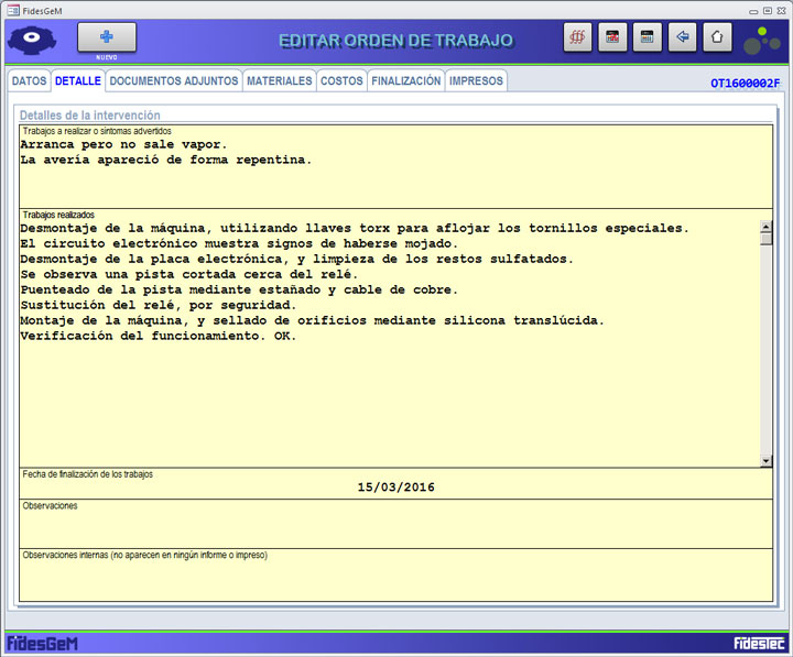 FidesGeM formulario orden de trabajo