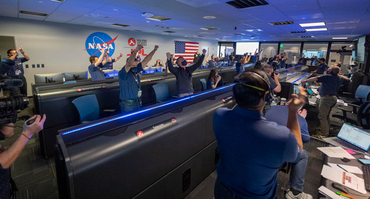 Members of NASA's Mars 2020 Perseverance rover mission were jubilant on Feb. 18, 2021, after the spacecraft successfully touched down on Mars.