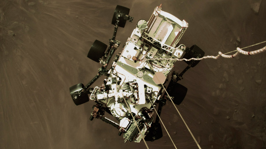 High-Resolution Still Image of Perseverance's Landing